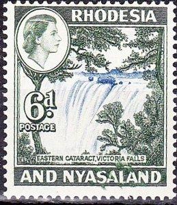 RHODESIA & NYASALAND 1959 6d Ultramarine & Deep Myrtle-Green SG24MH