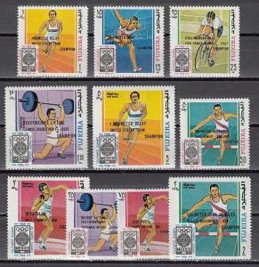Fujeira, Mi cat. 292-301 A. Summer Olympics, Winners o/print issue.