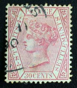 MALAYA 1891 STRAITS SETTLEMENTS QV 30c Used wmk CA SG#69 M2628