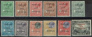 MALTA 1928 KGV PICTORIAL RANGE TO 1/- OVERPRINTED POSTAGE AND REVENUE