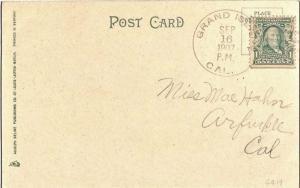 United States California Grand Island 1907 doane 3/2  1854-1919  PC.