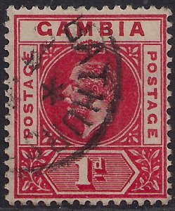 Gambia 1912 - 22 KGV 1d Red used SG 87 ( C634 )