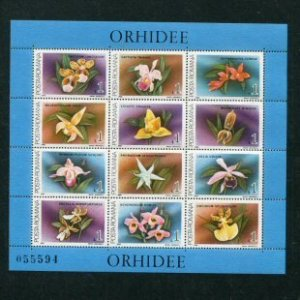 Romania MNH S/S 3536 Orchids 12 Stamps