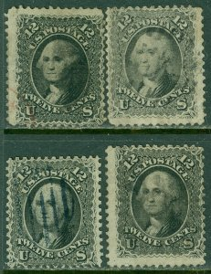 EDW1949SELL : USA 1861 Sc #69. 4 stamps Used. Minor faults Nice fronts. Cat $400