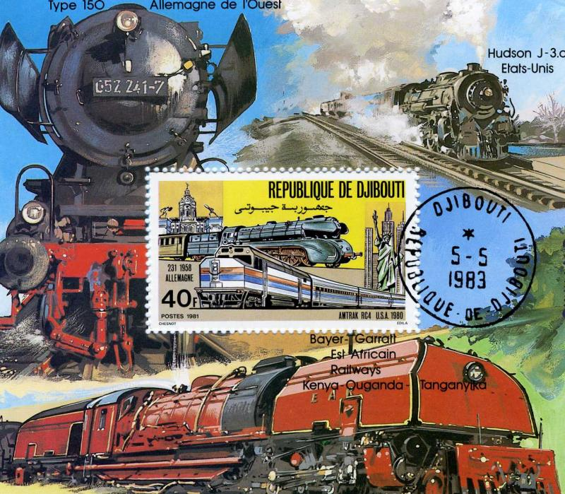 Djibouti 1981 Trains Locomotives Souvenir Sheet Perforated Canceled