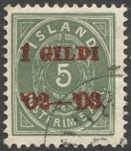 ICELAND 1902  Sc 45  5a Used Red Overprint VF