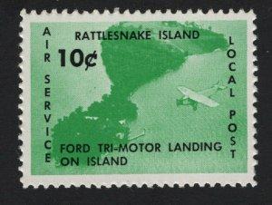 United States RATTLESNAKE ISLAND LAKE ERIE LOCAL AIRMAIL CINDERELLA  - BARNEYS