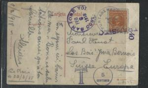 COSTA RICA  (PP1104B)  1918 5C ON PPC TO SWITZERLAND SHORT PAID AND TAXED