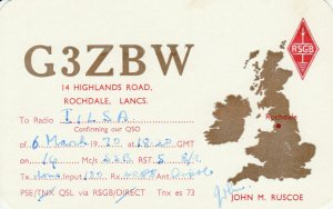 7276 Amateur Radio QSL Card  ROCHDALE ENGLAND