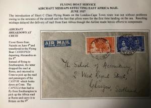 1938 Nairobi Kenya British KUT Crash Airmail Cover To Glasgow Scotland