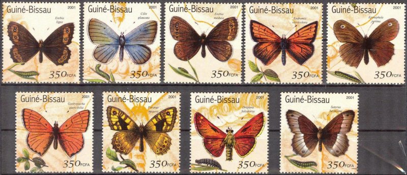 Guinea Bissau 2001 Butterflies II Set of 9 MNH**