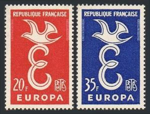 France 889-890, MNH. EUROPA CEPT. E and dove, 1958