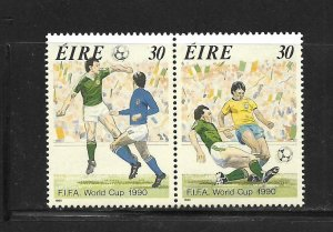 IRELAND, 800A, MNH, PAIR, SOCCER WORLD CUP 1990