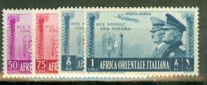 F: Italian East Africa 34-40, C18-19 mint CV $180.75; scan shows only a few