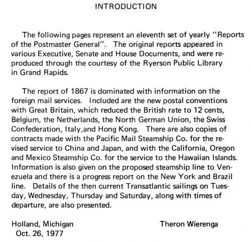 Book - US 1867 Report of the Postmaster General, Wierenga