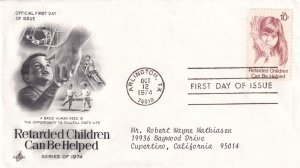 1974, Retarded Children Can Be Helped, Art Craft, FDC (E12280)