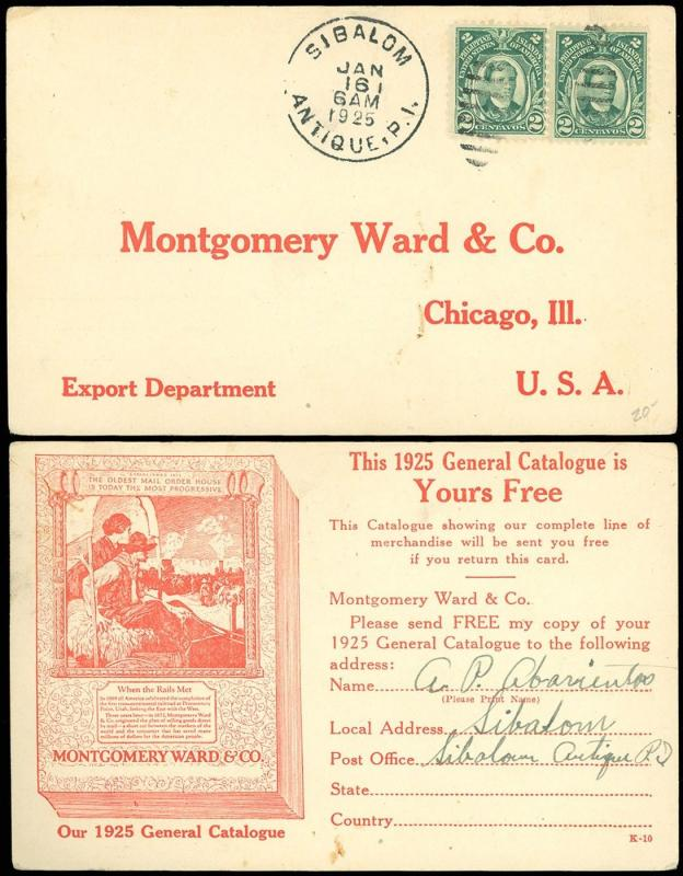 1925 SIBALON ANTIQUE, PHILIPPINES CDS, Montgomery Ward