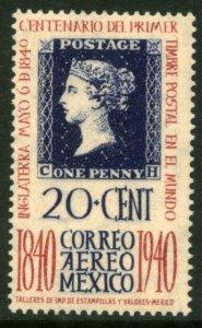 MEXICO C105, 20¢ PENNY BLACK CENTENNIAL. UNUSED, H OG. F-VF.