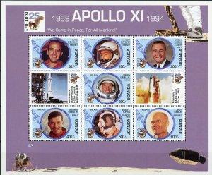 Uganda #1274 Moon Landing Sheet of 7 + 2 labels MNH