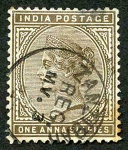 Zanzibar SGZ84 1882-90 India 1a 6p Sepia 3 May 91 with CDS (type Z6) Used