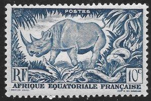 French Equatorial Africa #166 10c Black Rhinoceros & Rock Python ~ MNH