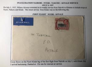 1937 Nyeri Kenya British KUT First Flight Airmail Cover To Kitale Wilson Airways