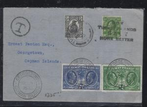 CAYMAN ISLANDS (PP0308B) 1933 INCOMING COVER FROM TURKS & CAICOS, POSTAGE DUE