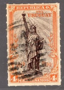 URUGUAY Sc#218 ROULETTED USED X RARE W/ CERTIFICATE STATUE OF LIBERTY LIGHTHOUSE