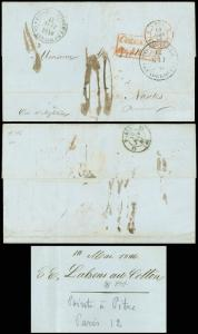 1846 TRANSATLANTIC STAMPLESS FLS, GUADELOUPE to NANTES, FRANCE! Via BOULOGNE!