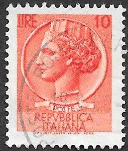 Italy Scott #676 10 l Italia (1958) Used