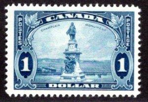 Scott 227, $1 blue, VG/F, MLHOG, Champlain's Statue, Canada Postage Stamp