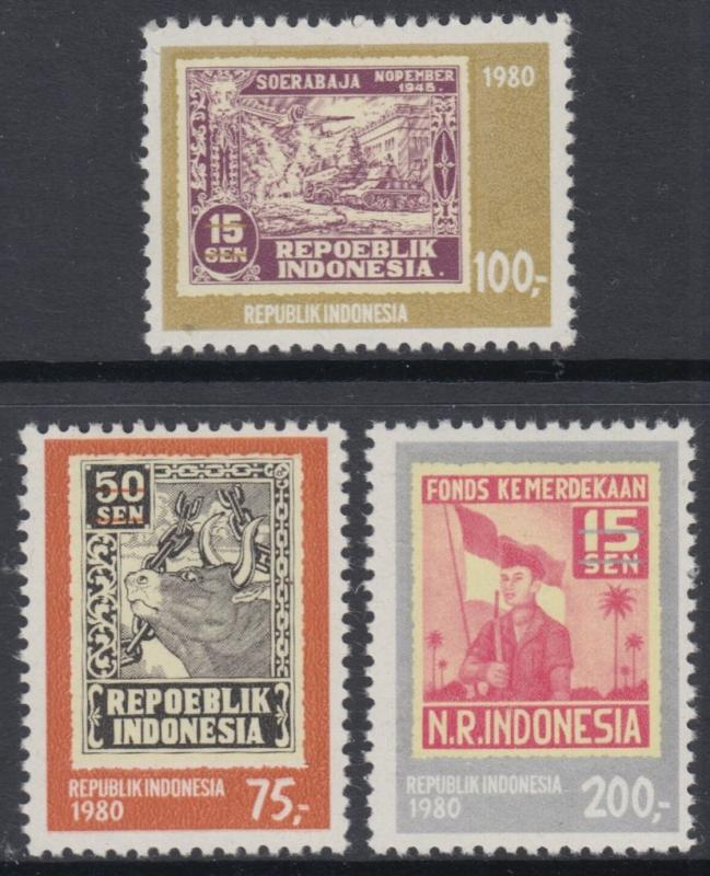 XG-AN681 INDONESIA - Stamp On Stamp, 1980 Independence Anniversary MNH Set