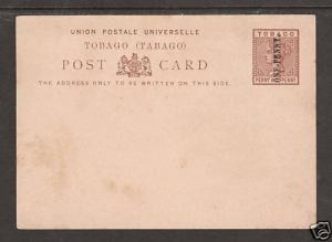 Tobago H&G 4 unused 1p on 1½p QV Postal Card, Scarce