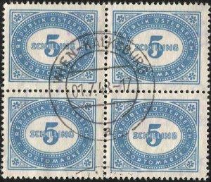 AUSTRIA 1947  Sc J230  5s Postage Due Used Block of 4 VF, Wien-Kalksburg cancel