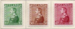 Iceland Sc 199-201 1937 25th Anniv Christian X stamp set mint