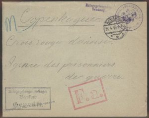 Germany 1915 WWI Beestow POW Moscow Red Cross Copenhagen Cover G102345