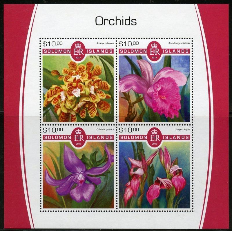 SOLOMON ISLANDS 2017 ORCHIDS SHEET  MINT NH