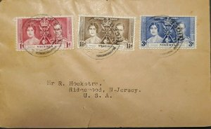 O) 1937 NIGERIA,CORONATION ISSUE, KING GEORGE VI AND QUEEN ELIZABETH, TO USA