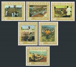 Rwanda 699-704, MNH. Mi 760-765. Fork-lift truck, Coffee, Plant, Farmer, 1975.