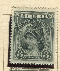 LIBERIA; 1903 early Pictorial issue fine Mint hinged 3c. value