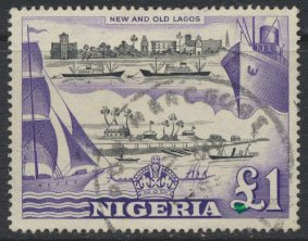 Nigeria  SG 80 SC# 91 Used  QEII 1953 New and Old Lagos   see scan