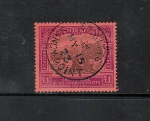 St Kitts & Nevis #64 Extra Fine Used Gem With May 15 1823 **With Certificate**