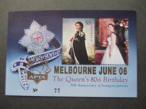 AU 2006 SG MS2626 80TH BIRTHDAY QE II O'PT APTA MELBOURNE 2006 IN GOLD #77