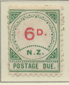 New Zealand Stamp Scott #J7, Unused, No Gum, Toning, Small D, Large NZ - ...