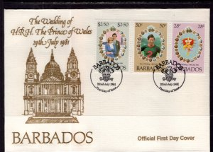 Barbados 547-549 Royal Wedding U/A FDC