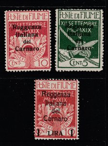 Fiume x 3 Military Post (2 normal overprinted) MH