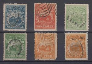 COSTA RICA 1863 COAT OF ARMS Sc 1-4 + TWO SHADES FULL SET FORGERIES USED (€605)