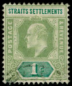 MALAYSIA - Straits Settlements SG110a, 1c pale green, FINE USED.