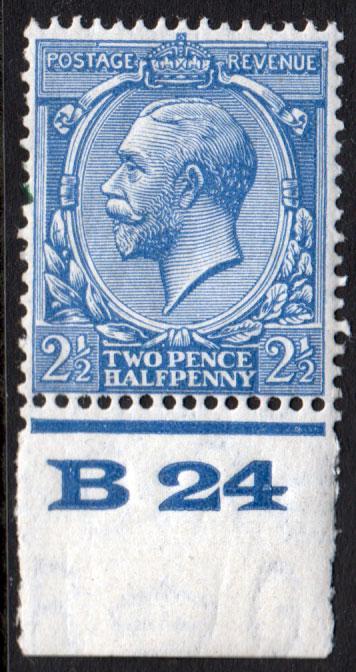GB KGV 1924 2.5d Blue SG422 Control B24 Mint Hinged
