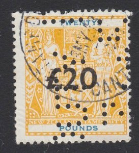 NEW ZEALAND ARMS Stamp Duty £20 used - official perfin......................J450